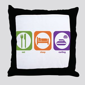 Eat Sleep Curling Throw Pillow